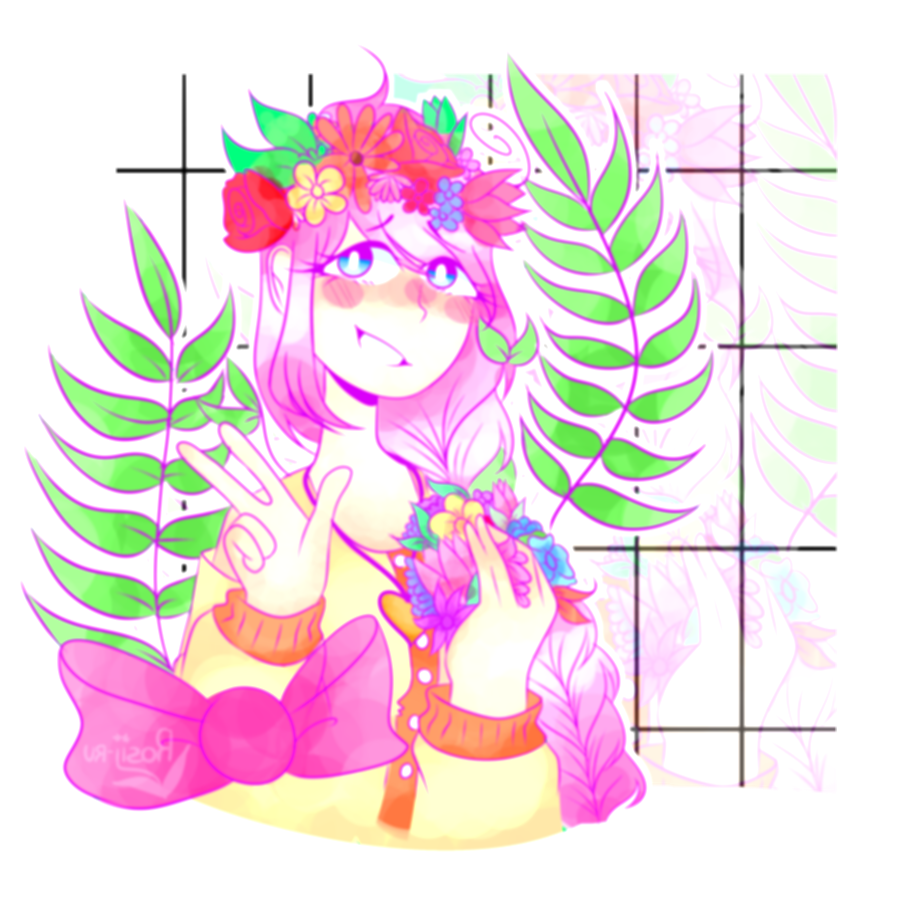 androgynous drawing flower crown