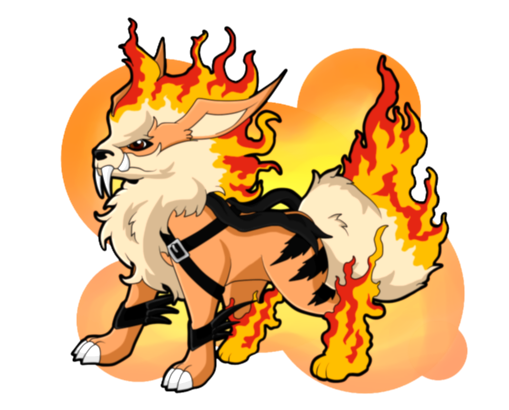 arcanine transparent fire red