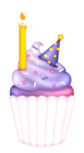 birthday cupcake with lots of candles png image
