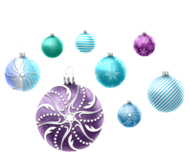 blue christmas decorations png