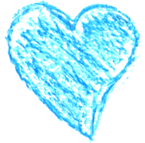 blue drawing heart
