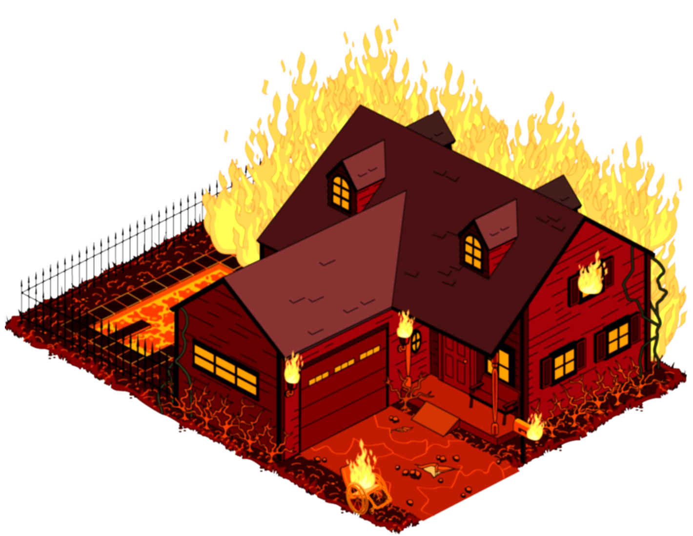 building on fire png