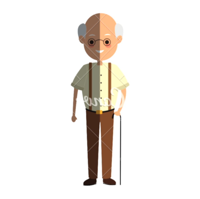 cane transparent old person