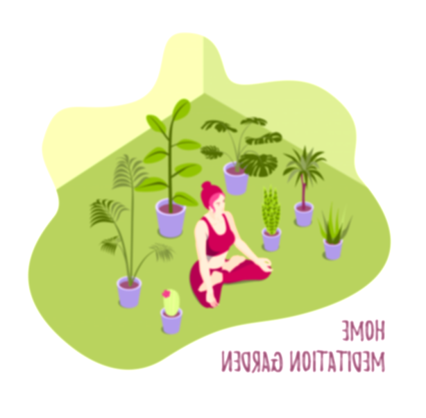Isometric vector illustration of a yoga girl meditating at home surroundet by potted plants