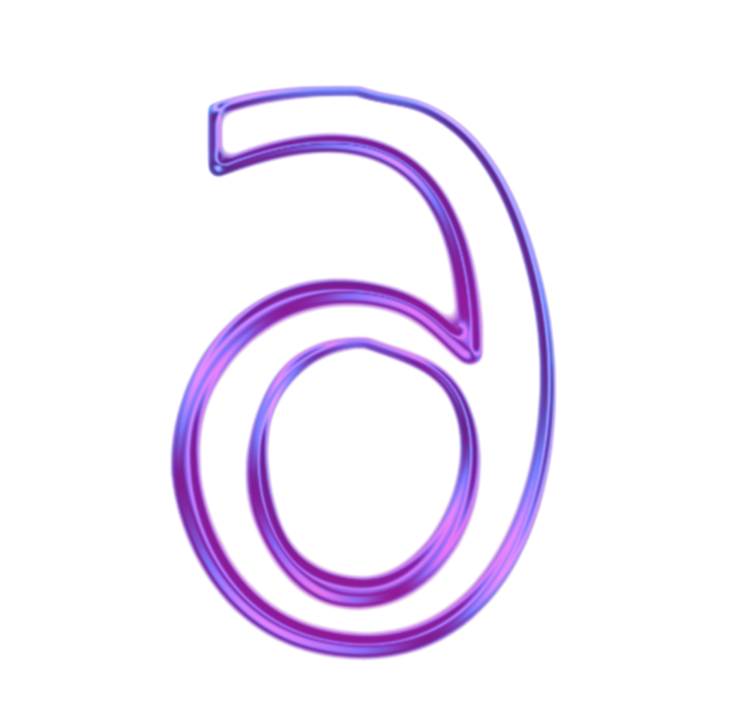 neon numbers png