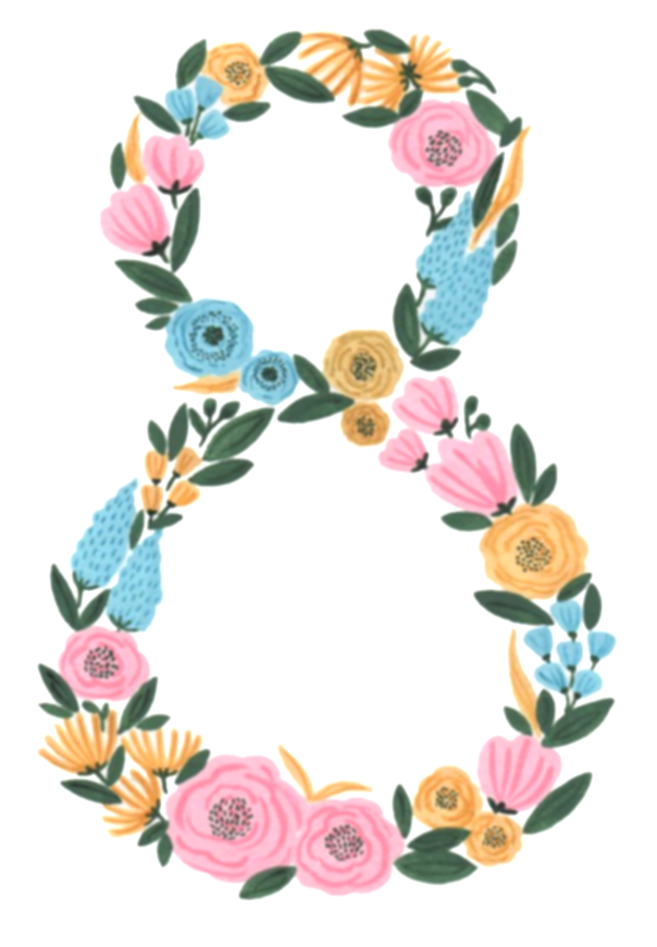 numbers clipart floral