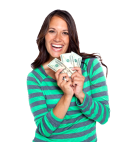 woman holding money png